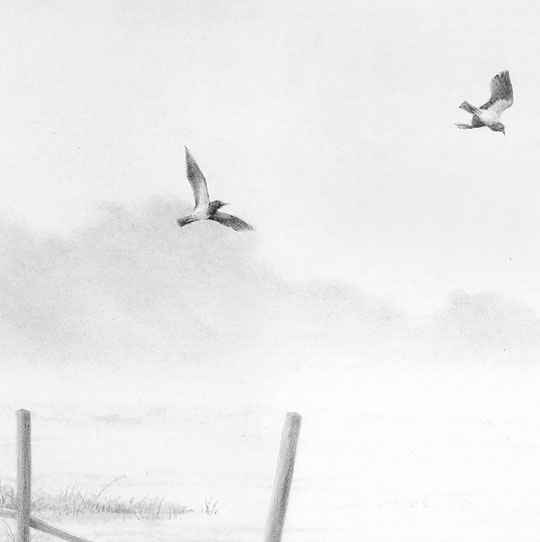 Detail from Early Morn at Witton Marsh by Mike Sibley