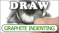 Graphite Indenting lines with hard grade pencils in a graphite pencil drawing