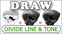 How to divide Line from Tone and the benefits offered in a pencil drawing