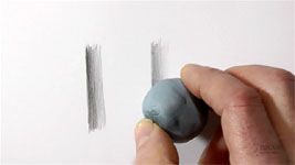 Demonstration showing that kneaded erasers and Blu-Tack are not erasers but adjusters of value