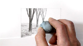A demonstration of using an eraser to adjust any value within a pencil drawing