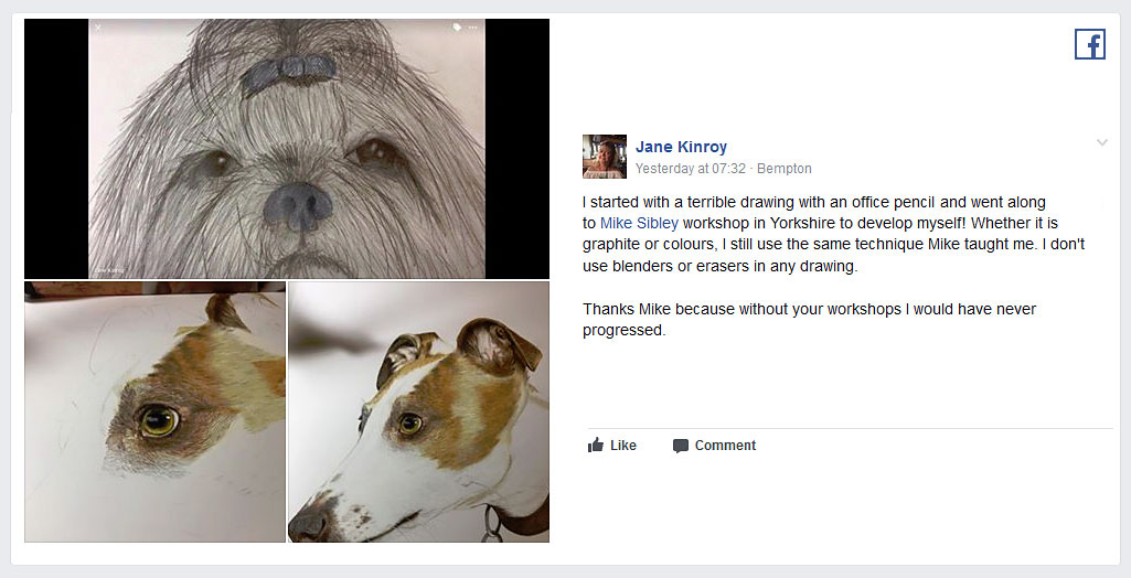 Facebook post by Jane Kinroy