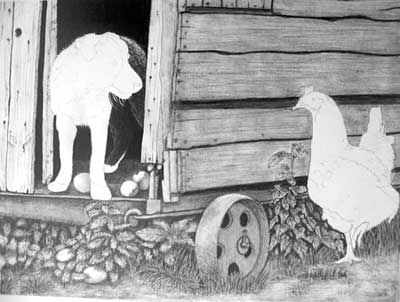 Edith's Border Collie pup and Hen graphite pencil drawing