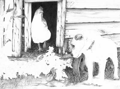 Simone's Parson Russell Terrier and Hen graphite pencil drawing